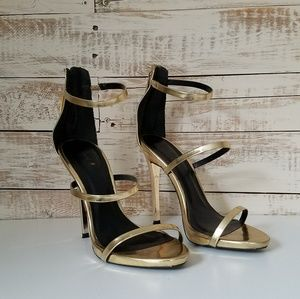 Gold Metallic Strappy Heel